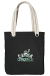 Michigan State Peace Frog Tote Bag RICH COTTON CANVAS Black