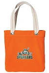 Michigan State Peace Frog Tote Bag RICH COTTON CANVAS Orange