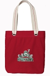 Michigan State Peace Frog Tote Bag RICH COTTON CANVAS Red