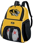 Mizzou Soccer Ball Backpack Bag Gold