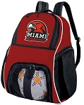 Miami University Soccer Ball Backpack Bag Red