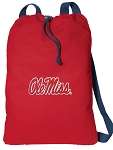 University of Mississippi Cotton Drawstring Bag Backpacks Cool RED