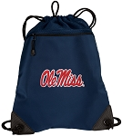 Ole Miss Drawstring Backpack-MESH & MICROFIBER Navy