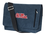 University of Mississippi Messenger Bags STYLISH WASHED COTTON CANVAS Blue