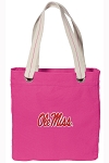 Ole Miss Tote Bag RICH COTTON CANVAS Pink