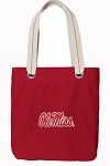 University of Mississippi Tote Bag RICH COTTON CANVAS Red