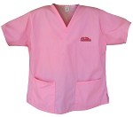University of Mississippi Pink Scrubs Tops SHIRT