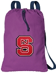 NC State Cotton Drawstring Bag Backpacks Cool Purple