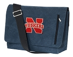 Nebraska Huskers Messenger Bags STYLISH WASHED COTTON CANVAS Blue