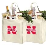 Nebraska Cotton Shopping Grocery Bags 2 PC SET