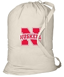 University of Nebraska Laundry Bag Natural
