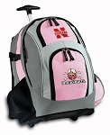 Nebraska Blackshirts Rolling Backpack Deluxe Pink