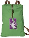 Northwestern University Cotton Drawstring Bag Backpacks Cool Green
