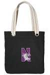 Northwestern University Tote Bag RICH COTTON CANVAS Black