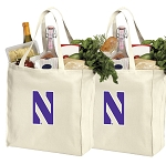 Northwestern University Cotton Shopping Grocery Bags 2 PC SET