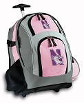 Northwestern University Rolling Backpack Deluxe Pink