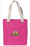 University of Oregon Tote Bag RICH COTTON CANVAS Pink