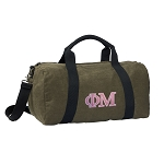 Phi Mu Sorority Duffel RICH COTTON Washed Finish Khaki