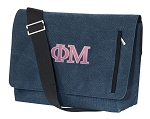Phi Mu Messenger Bags STYLISH WASHED COTTON CANVAS Blue