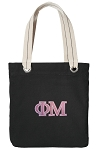 Phi Mu Tote Bag RICH COTTON CANVAS Black