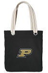 Purdue University Tote Bag RICH COTTON CANVAS Black