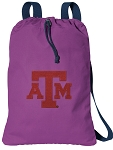 Texas A&M Cotton Drawstring Bag Backpacks Cool Purple