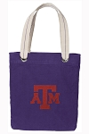 Texas A&M Tote Bag RICH COTTON CANVAS Purple