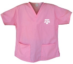 Texas A&M Aggies Logo Pink Scrubs Tops SHIRT