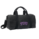 TCU Texas Christian Duffel RICH COTTON Washed Finish Black