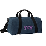 TCU Texas Christian Duffel RICH COTTON Washed Finish Blue