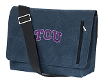 TCU Texas Christian Messenger Bags STYLISH WASHED COTTON CANVAS Blue