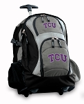 Texas Christian Rolling Backpack Black Gray