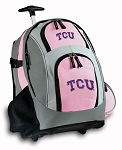 TCU Texas Christian Rolling Backpack Pink