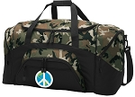 Peace Sign Camo Duffel Bags