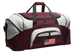 Large American Flag Duffle Bag Maroon