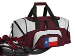 SMALL Texas Gym Bag Texas Flag Duffle Maroon