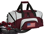 SMALL American Flag Gym Bag USA Flag Duffle Maroon
