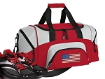 SMALL American Flag Gym Bag USA Flag Duffle Red