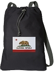 California Flag Cotton Drawstring Bag Backpacks