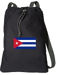 Cuba Drawstring Bag SOFT COTTON Cuban Flag Backpacks Black