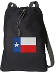 Texas Flag Cotton Drawstring Bag Backpacks