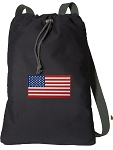 American Flag Cotton Drawstring Bag Backpacks