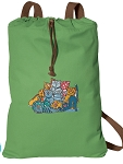 Crazy Cat Cotton Drawstring Bag Backpacks COOL GREEN