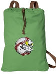 Baseball Cotton Drawstring Bag Backpacks COOL GREEN