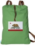 California Flag Cotton Drawstring Bag Backpacks COOL GREEN