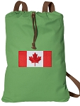 Canada Cotton Drawstring Bag Backpacks COOL GREEN