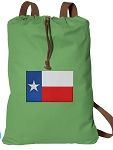Texas Flag Cotton Drawstring Bag Backpacks COOL GREEN