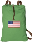 American Flag Cotton Drawstring Bag Backpacks COOL GREEN