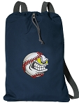 Baseball Cotton Drawstring Bag Backpacks RICH NAVY
