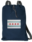 Chicago Flag Cotton Drawstring Bag Backpacks RICH NAVY